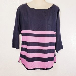 LOFT Ann Taylor Blouse Small Lavender Striped A8